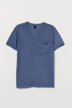 H&M Raw-edge T-shirt - Blue