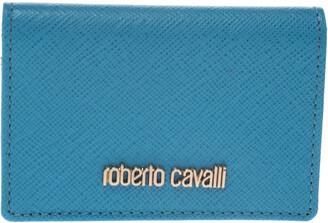 Roberto Cavalli Turquoise Leather Card Holder