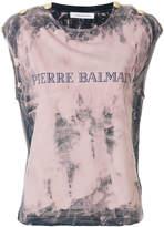 Pierre Balmain tie dye logo cap sleeve tee
