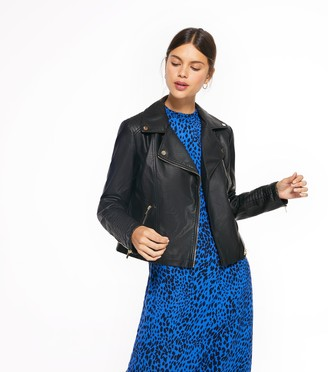 New Look Leather-Look Quilted Biker Jacket