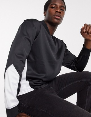 Topman panelled v neck jumper in black