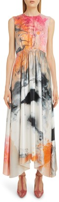 Roksanda Watercolor Print Silk Maxi Dress