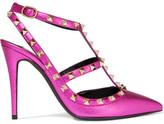 Valentino Rockstud Embellished Metallic Textured-leather Pumps - Fuchsia