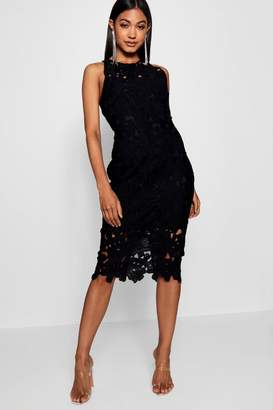 boohoo Lace Sweetheart Bodycon Midi Dress