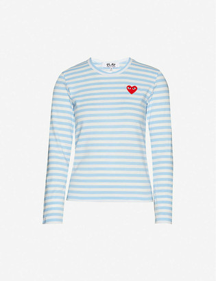 Comme des Garcons Heart-applique striped cotton-jersey top