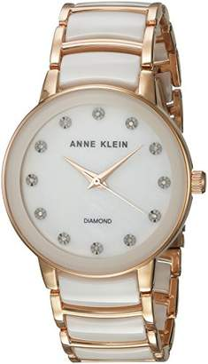 Anne Klein Women's AK/2672WTRG Diamond-Accented Rose Gold-Tone and White Ceramic Bracelet Watch