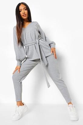 boohoo Petite Knitted Soft Rib Legging Two-Piece