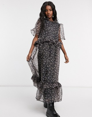 Sister Jane maxi dress with ruffle detail in floral organza