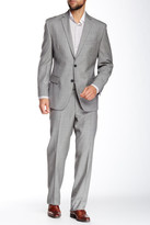 Vince Camuto Medium Grey Sharkskin Two Button Botch Lapel Modern Fit Wool Suit