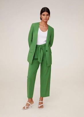 MANGO Structured linen jacket green - XS - Women