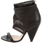 IRO Mesh-Trimmed Leather Sandals