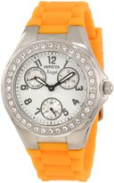 Invicta Women's 1638 Angel Collection Polished Steel Large Crystal Bezel Orange Polyurethane Watch