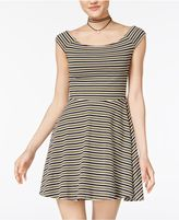 Planet Gold Juniors' Striped Off-The-Shoulder Skater Dress