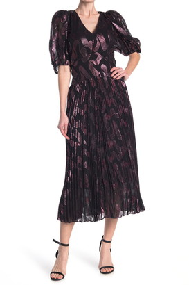 Rebecca Taylor Puff Sleeve Pleated Silk Blend Midi Dress