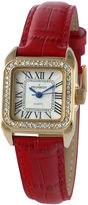 Peugeot Womens Gold Tone And Red Leather Strap Watch 3052RD