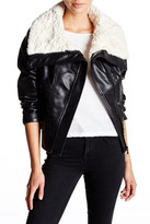 GUESS Faux Shearling Collar Faux Leather Moto Jacket