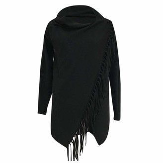 Aiserkly Women Poncho Sweater V Neck Solid Knit Shawl Wrap Elegant Cape Pullover with Fringes Baggy Cardigan Coat Black XL