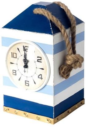 Mercana Home Penfield Blue/White Stripe Nautical Wooden Table Clock - 7.0L x 6.3W x 11.0H