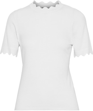 Elie Tahari Maggie Scalloped Merino Wool Top