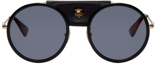 Gucci Black Round Leather Cover Sunglasses
