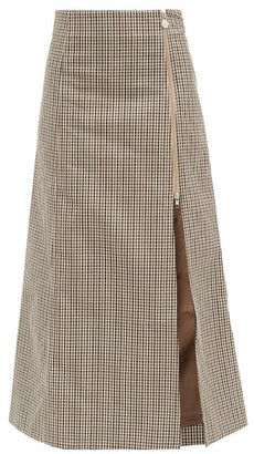 Martine Rose Cocorico Checked Cotton-blend Skirt - Brown Print