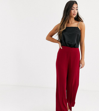 Asos DESIGN Petite wide leg trousers with clean high waist-Red