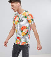 Hype Muscle T-Shirt In Floral Stripe Exclusive to ASOS