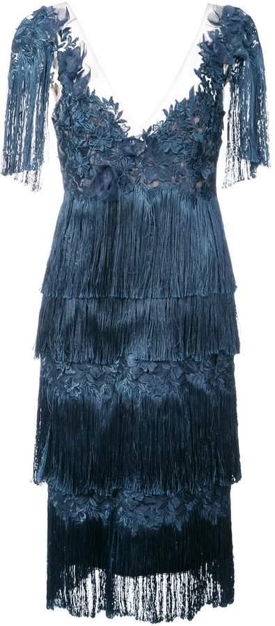 Marchesa fringed dress