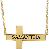 JCPenney FINE JEWELRY Personalized 14K Gold Over Silver Cross Pendant Necklace