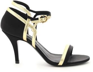 Salvatore Ferragamo MALMO TWO-TONE SANDALS 4,5 Black, Gold Leather