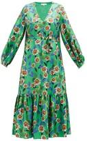 Borgo de Nor Marita Floral-print Silk-twill Midi Dress - Womens - Green Multi