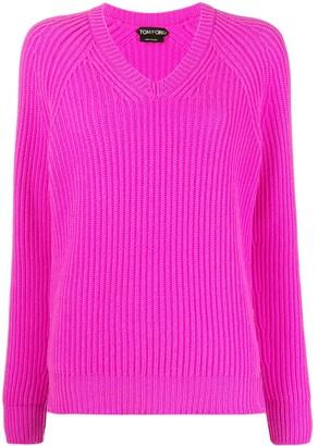 Tom Ford V-neck ribbed-knit cashmere jumper