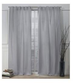 "Exclusive Home Nicole Miller Faux Linen Slub Textured Hidden Tab Top 54"" X 96"" Curtain Panel Pair"