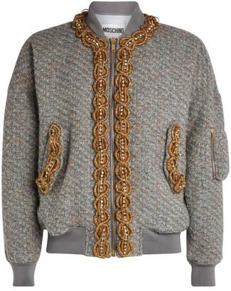 Moschino Embroidered Tweed Bomber Jacket