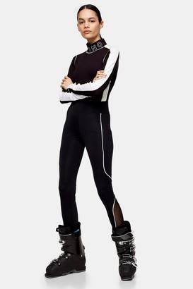 Topshop Womens Black Mesh Panelled Sports Leggings - Black