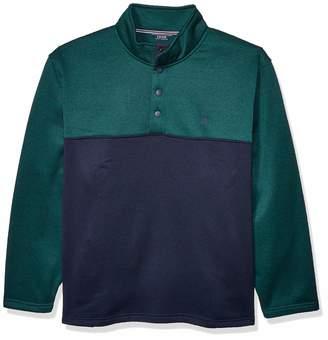 Izod Men's Big Premium Essentials Spectator Button Mock Neck Colorblock Fleece