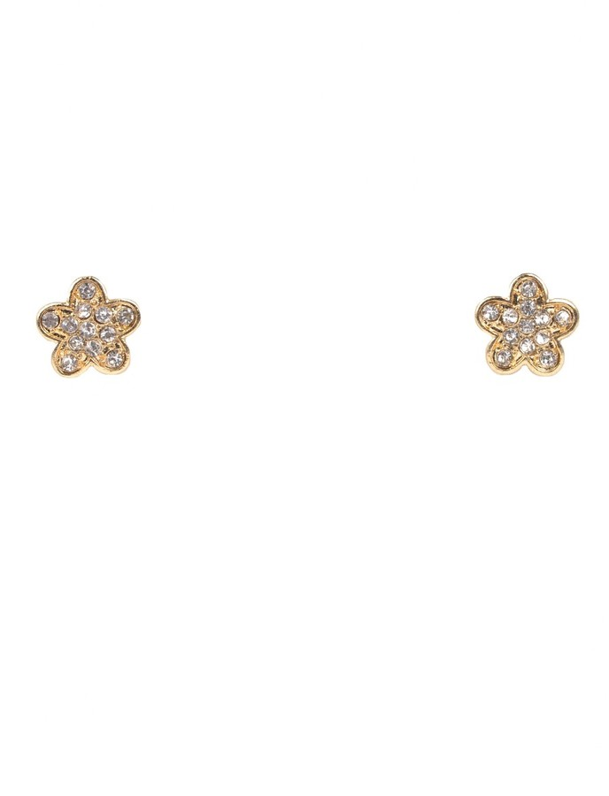 Schiff Marlyn Gold Diamond Flower Studs
