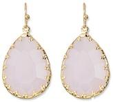 Women's Teardrop Earring with Fancy Bezel - Pink/Gold