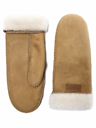 YISEVEN Women Merino Rugged Sheepskin Shearling Leather Gloves Mitten Flip Cuffs Sherpa Furry Thick Wool Lined Heated Warm for Winter Cold Weather Dress Driving gift Camel Medium