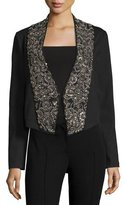 Haute Hippie Embellished-Lapel Ponte Jacket