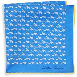 Salvatore Ferragamo Elephant & Mouse Silk Pocket Square