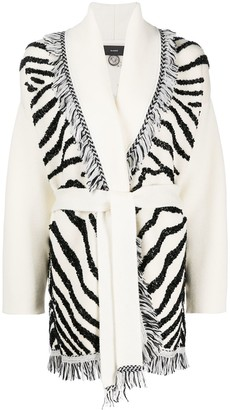 Alanui Glam Zebra Embroidered Cardigan