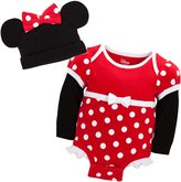 Disney Store Red Minnie Mouse Onesie Costume Bodysuit/Ears Hat Size 12-18 Months