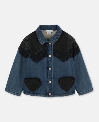 Stella Mccartney Kids Stella McCartney hearts & fringes washed denim jacket