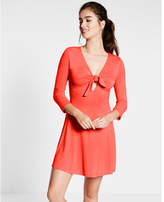 Express red tie front fit and flare dress
