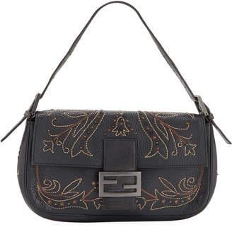 Fendi Embroidered Zucca Canvas Baguette Shoulder Bag