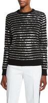Michael Kors Sequin-Striped Crewneck Sweater, Black
