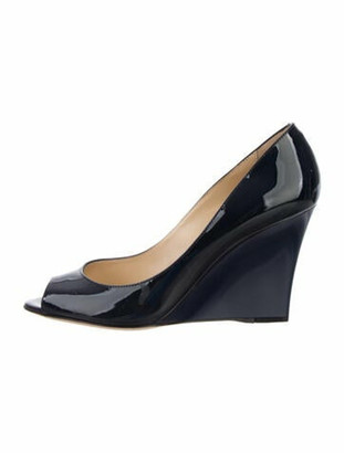 Jimmy Choo Patent Leather Peep-Toes Pumps Blue