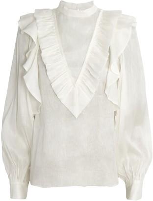 Aje Liberation Frill Silk-Linen Blouse