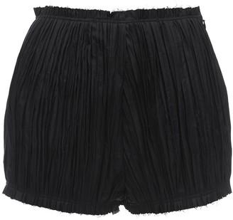 KHAITE Hilary Plisse Cotton Twill Shorts